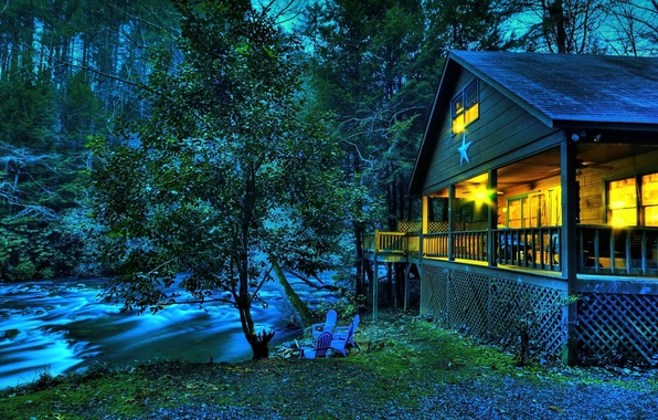 Picture forest, grass, leaves, water, light, nature, stream, tree, star, chairs, the evening, chairs, house, river, ...