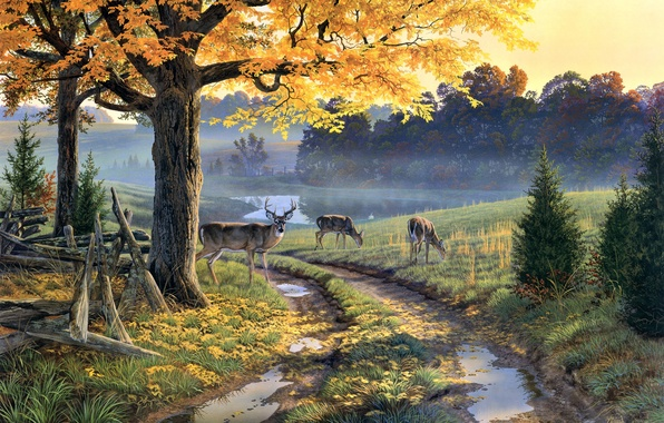 Picture autumn, lake, puddles, painting, deer, Al Agnew, autumn leaves, A Bend in the Road, dirt …