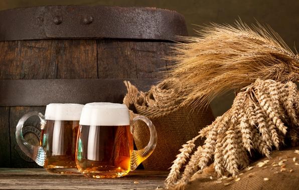 Picture foam, beer, ears, mugs, barrel, burlap