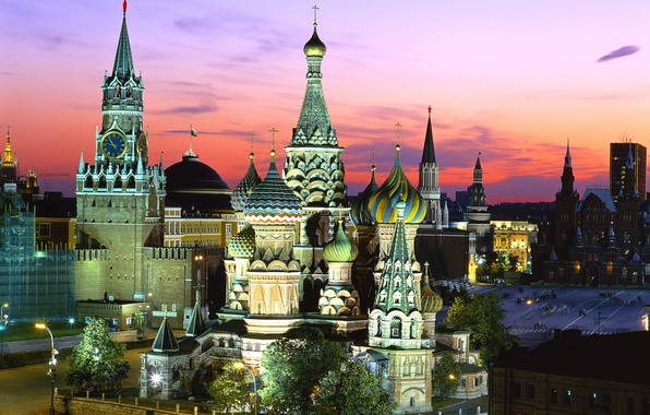 Picture Moscow, St. Basil's Cathedral, Russia, Red square, Spasskaya tower