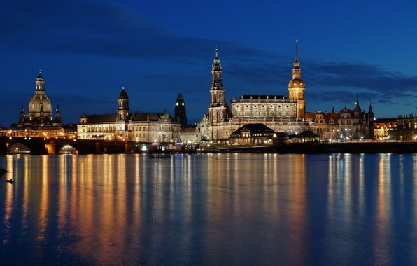 Picture water, light, night, bridge, reflection, building, home, Germany, Dresden, architecture, Germany, Dresden, Germany