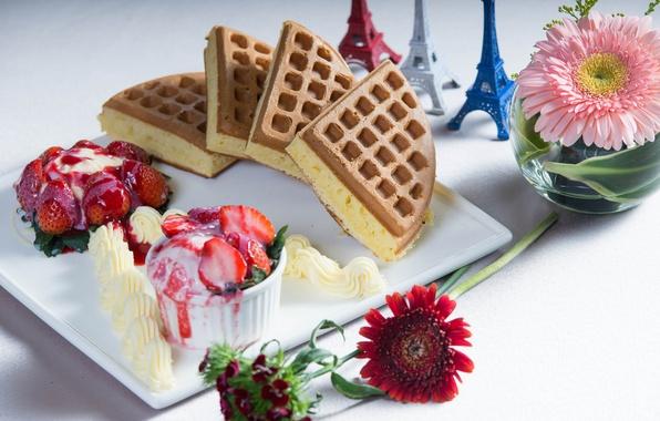 Picture flowers, berries, Eiffel tower, strawberry, ice cream, cake, gerbera, dessert