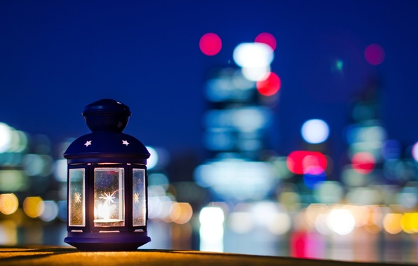 Picture stars, night, the city, background, fire, widescreen, Wallpaper, mood, lamp, candle, blur, the evening, beautiful, …