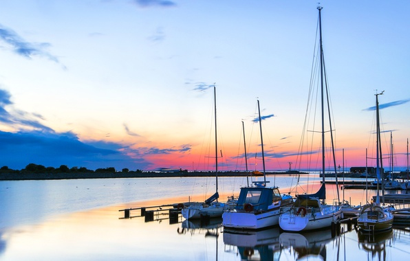 Picture sea, the sky, clouds, sunset, boat, yacht, harbour