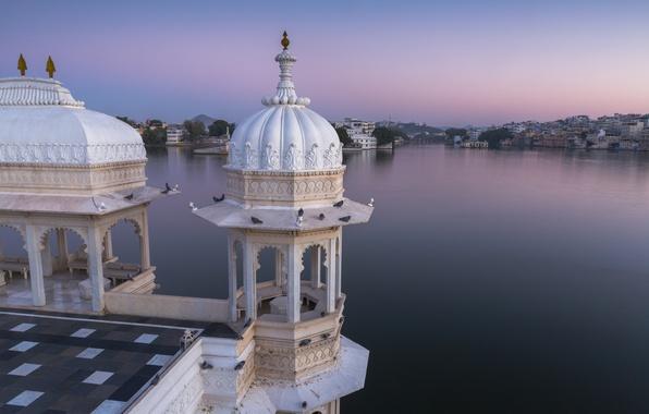 Picture lake, India, panorama, Palace, India, Rajasthan, Udaipur, Rajasthan, Udaipur