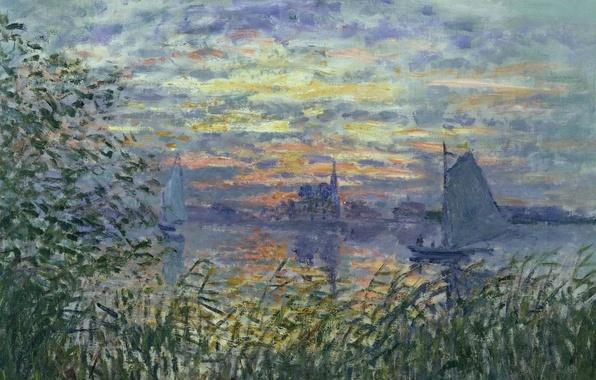 Photo wallpaper landscape, boat, picture, sail, Claude Monet, Sunset on the Seine
