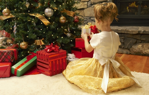 Picture holiday, carpet, tree, new year, dress, girl, gifts, girl, fireplace, new year, Christmas decorations