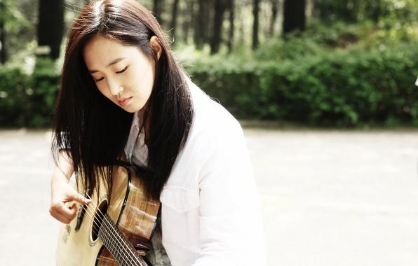 Picture Girl, Music, Asian, Guitar, SNSD, Kpop, Singer, Outside, Outdoor, Girls' Generation, Yuri, Korean