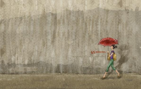 Picture girl, wall, umbrella