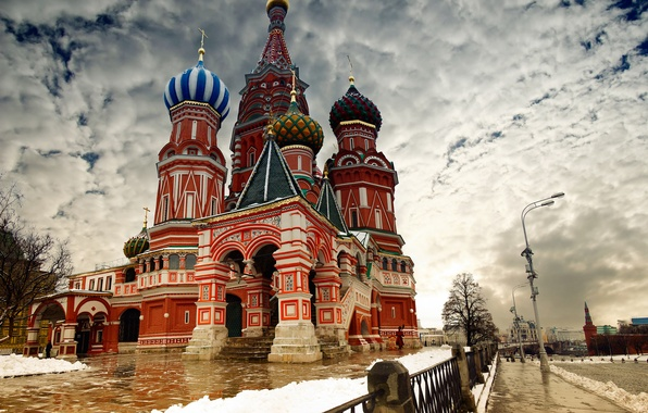 Picture winter, clouds, snow, the city, Wallpaper, the fence, Moscow, the Kremlin, wallpaper, Russia, St. Basil's ...