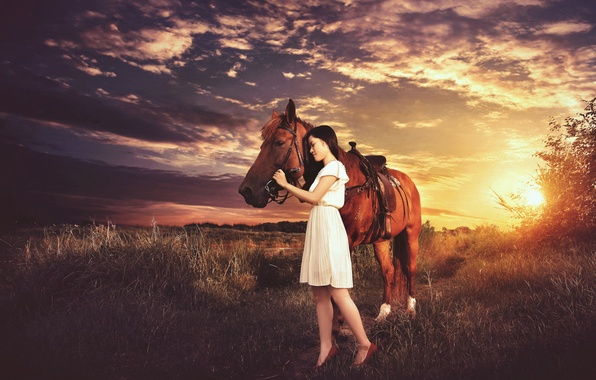 Picture girl, sunset, mood, horse