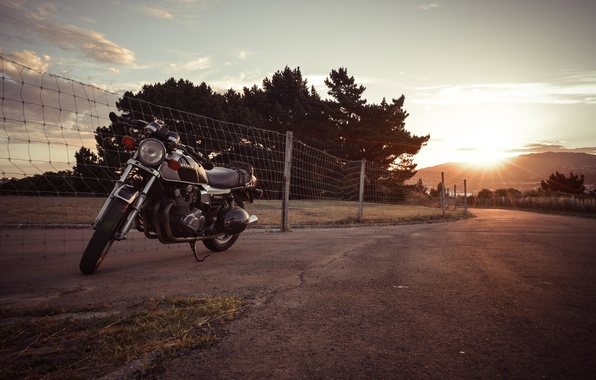Picture suzuki, road, sunset, motorcycle, gs850