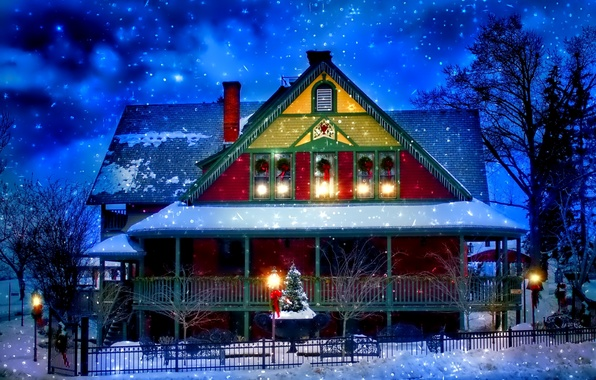 Picture light, snow, decoration, trees, lights, house, holiday, the fence, tree, Winter, the evening, Christmas, New …