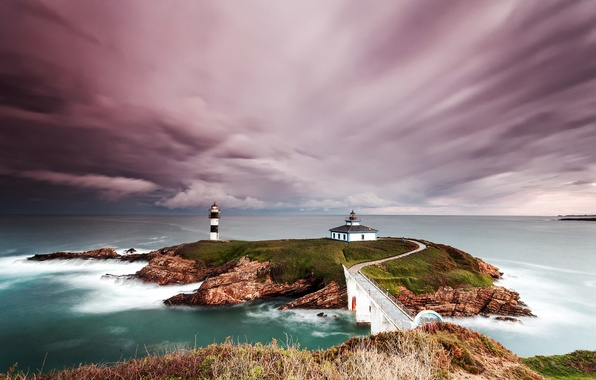 Picture the sky, clouds, rocks, lighthouse, Spain