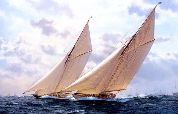 Picture sea, wave, the sky, clouds, storm, sailboat, picture, yacht, J. Steven Dews