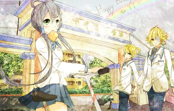 Picture bike, girls, anime, art, form, guys, vocaloid, hatsune miku, kagamine rin, students, kagamine len, oliver, …