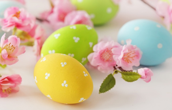 Picture flowers, eggs, Easter, flowers, Easter, eggs, delicate, pastel
