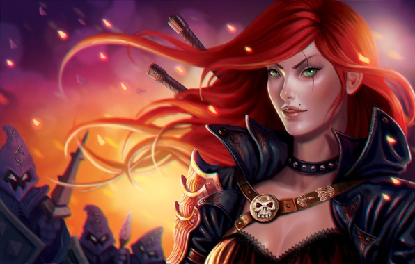 Picture girl, red, League of Legends, Katarina, moba, riot games