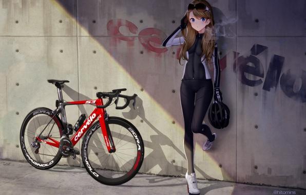 Picture girl, bike, wall, bottle, anime, art, glasses, helmet, equipment, hitomi kazuya