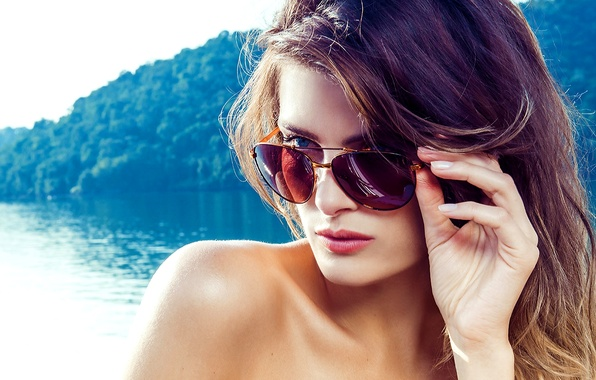Picture eyes, look, girl, face, model, brunette, blue, glasses, Isabel Fontana, Isabeli Fontana