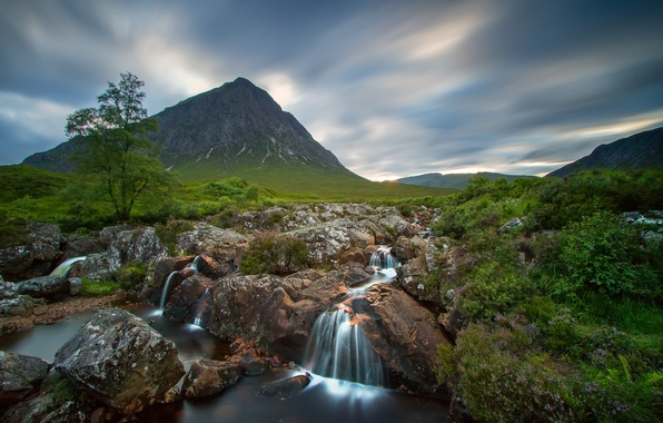 Picture the sky, trees, river, stones, mountain, waterfall, Scotland