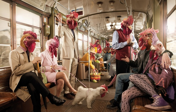 Picture rendering, people, metro, the car, chicken, cock