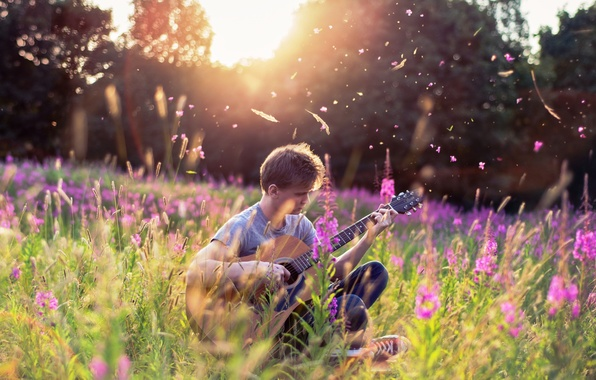 Picture summer, music, guitar, guy