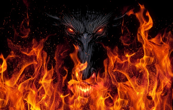 Picture look, background, fiction, fire, black, dragon, art, mouth