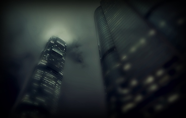 Picture light, clouds, city, the city, fog, Windows, building, skyscrapers