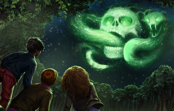 Picture wallpaper, sake, girl, fantasy, magic, viper, snake, sky, trees, night, cloud, mark, stars, boy, symbol, ...