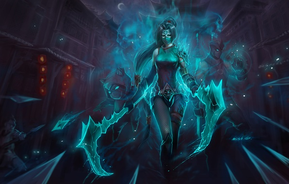 ... Picture weapons, girl, Know, night, mask, Akali, Shen, League ...