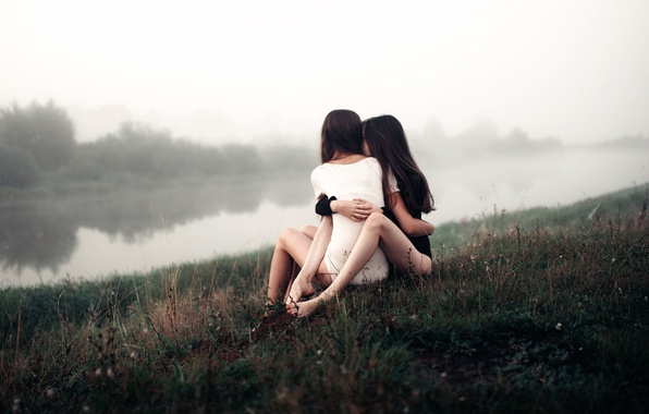 Picture love, fog, river, morning, pair, two girls