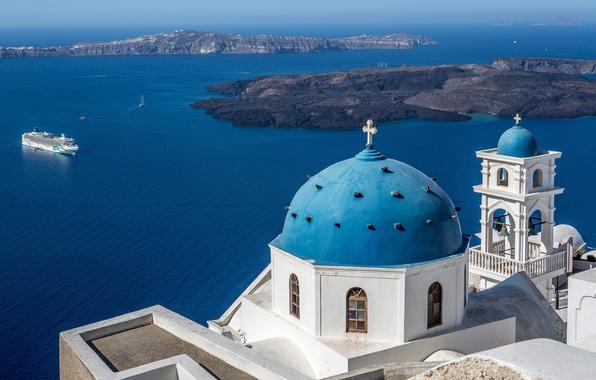 Picture sea, Islands, Santorini, Greece, Church, liner, the dome, Santorini, Greece, the bell tower, The Aegean …