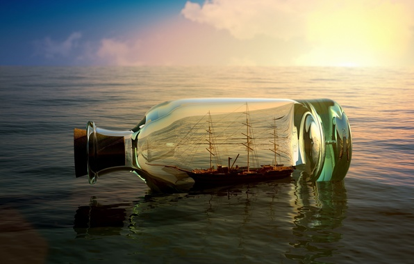 Picture sea, the sky, water, river, background, Wallpaper, mood, boat, ship, bottle, wallpaper, sea, the ship, ...