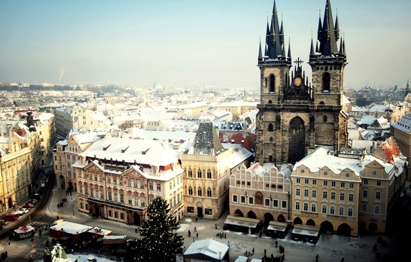 Picture winter, snow, the city, people, tree, Prague, Czech Republic, Prague, The Czech Republic, Praha, Old …