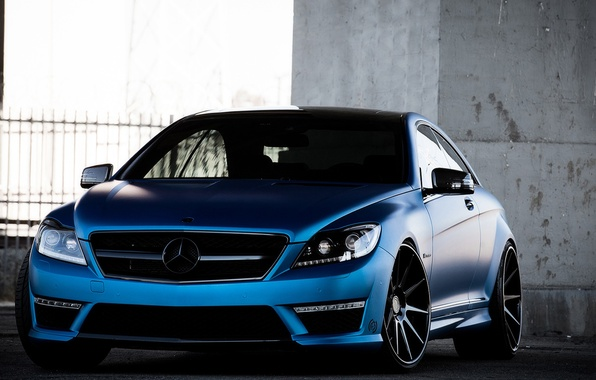 Picture Mercedes-Benz, Auto, Blue, The fence, Tuning, Machine, Parking