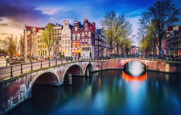 Picture trees, the city, lights, home, spring, the evening, Amsterdam, channel, Netherlands, the bridge, bikes