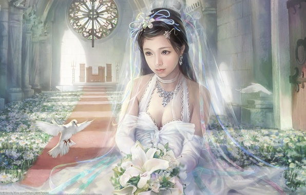 Picture girl, flowers, beauty, bouquet, pigeons, I-Chen Lin, the bride
