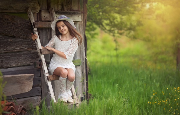 Picture girl, hat, Veselina Alexandrova, In the country