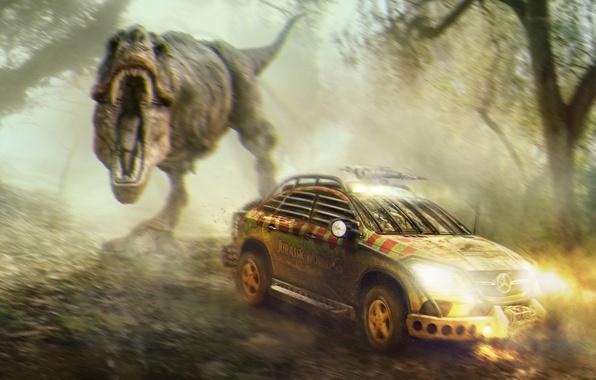 Picture auto, fiction, figure, speed, dinosaur, the situation, blur, art, headlights, Jurassic world, Jurassic World, Mercedes-Benz …