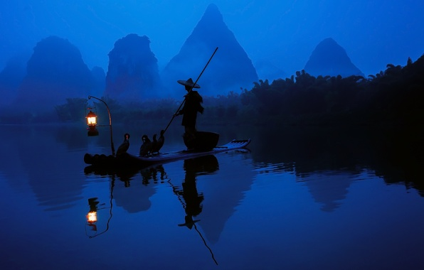 Picture forest, water, light, reflection, river, boat, China, fisherman, morning, lantern, cormorants