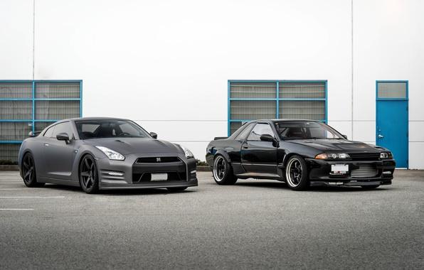 Picture black, nissan, old, black, Nissan, gt-r, gtr, new, r32, r35, generation, matte black