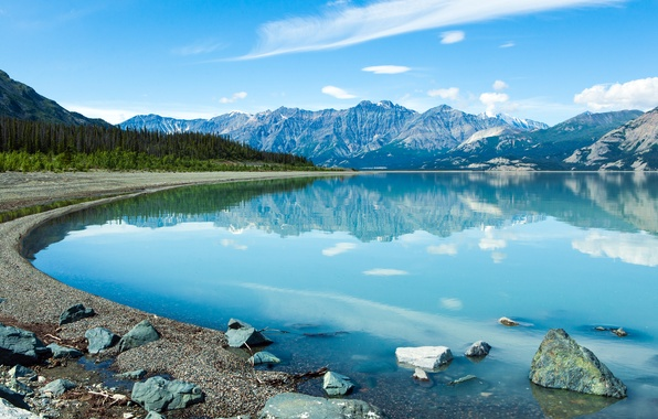 Picture mountains, nature, lake, Canada, Yukon
