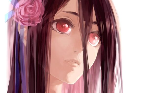 Picture flower, girl, face, anime, art, blood+, g.g.lemon, saya otonashi