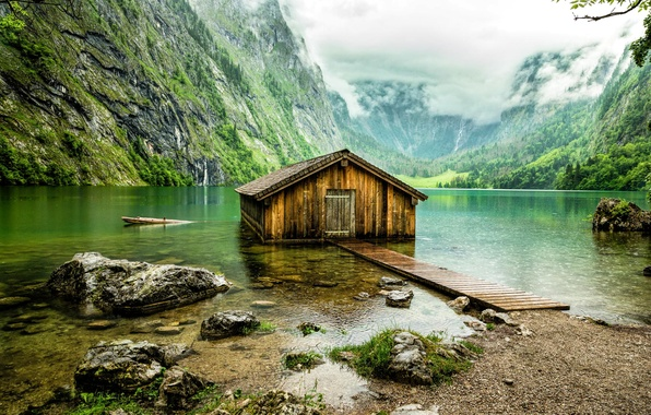 Picture mountains, lake, Germany, Bayern, hangar, house, obersee
