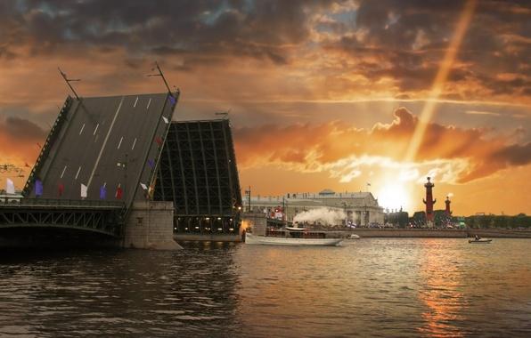 Picture sunset, bridge, the city, river