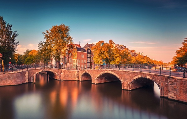 Picture autumn, trees, bridge, the city, river, building, Amsterdam, channel, Netherlands, Amsterdam, bikes, province, Nederland, Noord-Holland, …