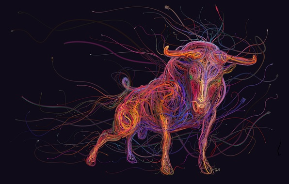 Picture abstraction, color, figure, horns, bull