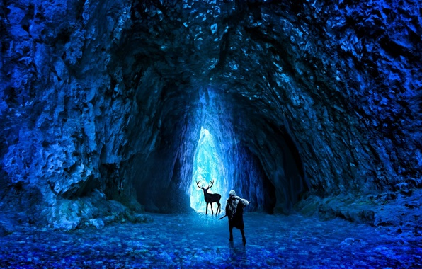 Picture cold, ice, weapons, people, deer, art, cave, romance of the Apocalypse, romantically apocalyptic, alexiuss