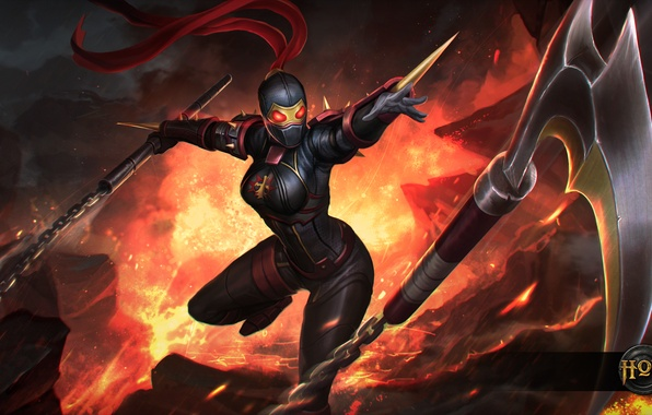 Picture girl, chain, killer, art, Silhouette, Heroes of Newerth, Black Legion, Hexa